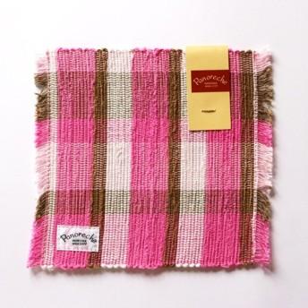 【裂き織】コーヒーマット チェックシリーズLot.103 ピンク 手織り