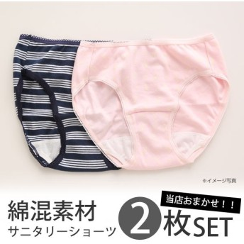 ショーツ メール便(20) おまかせ 綿混 サニタリーショーツ 2枚セット 生理用 M L