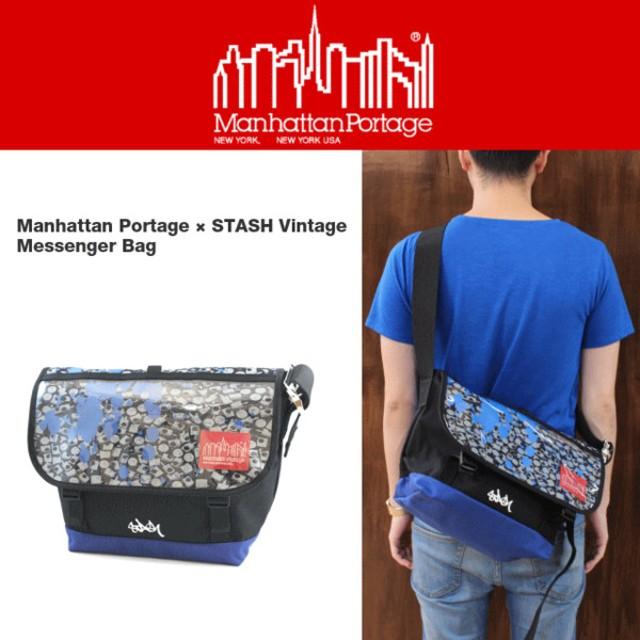 バッグ マンハッタンポーテージ Manhattan Portage ヴィンテージ メッセンジャーバッグ JR スタッシュ ブラック/ロイヤルブルー 1606V-JR-STASH-BLKRBL
