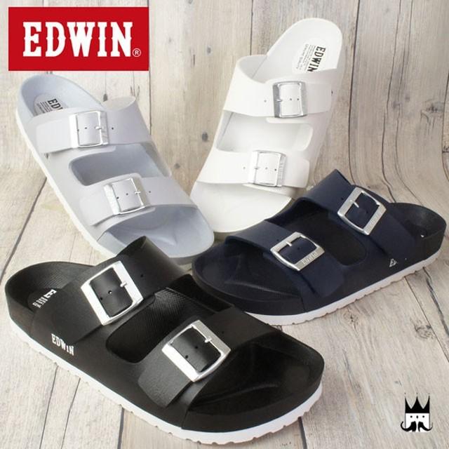 エドウィン EDWIN メンズ サンダル EW9001 フットベッドサンダル カジュアルシューズ コンフォート 夏  ネイビー ホワイト ブラック グレー