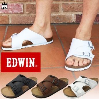 エドウィン EDWIN メンズ サンダル EW9104 コンフォートサンダル フットベッドサンダル ブラック ダークブラウン ホワイト