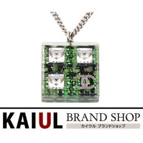 a9e72adb4b87 シャネル ココマーク ツイード スクエア ネックレス ラインストーン プラスチック グリーン シルバー ペンダント SAランク