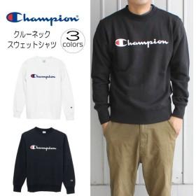 定番 チャンピオン Champion クルーネック スウェット シャツ(ロゴ)C3-H004 ホワイト(010)ブラック(090)ネイビー(370)