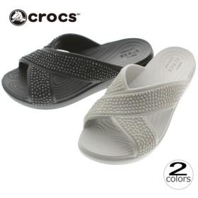 クロックス crocs サンダル クロックス スローン エンベリッシュド エックスストラップ 204084 プラチナム(018) ブラック/ブラック(060)