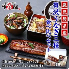 丑の日 鹿児島県産 贅沢うなぎ3種食べ比べセット (長蒲焼き約130g×1尾、カットうなぎ蒲焼き50g×1枚、きざみうなぎ60g×1袋)