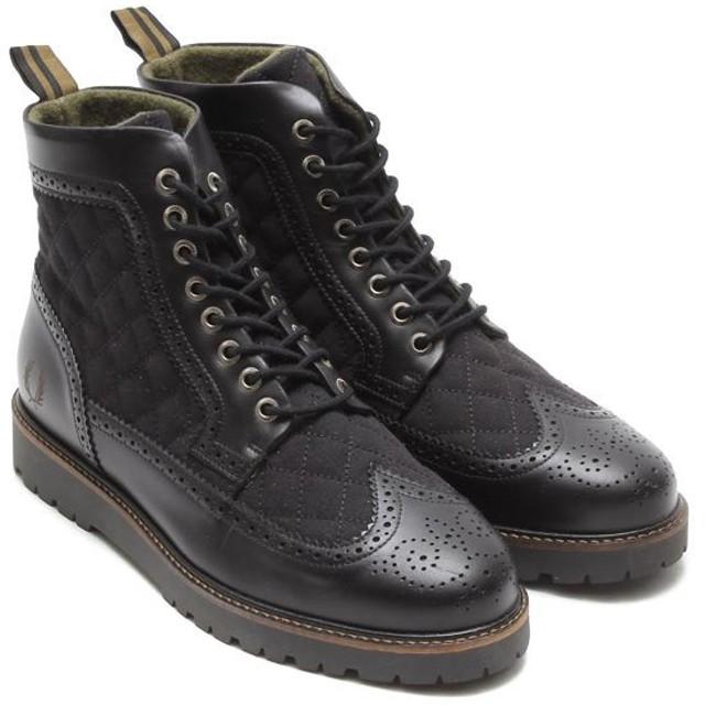 フレッド ペリー FRED PERRY コマンド セメント ロング ウィング ブーツ キルティング(BLACK/BRITISH OLIVE)メンズ