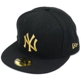 NEWERA ニューエラ キャップ 59FIFTY メルトンウール ニューヨーク・ヤンキース ブラック/ゴールド (N0007275)