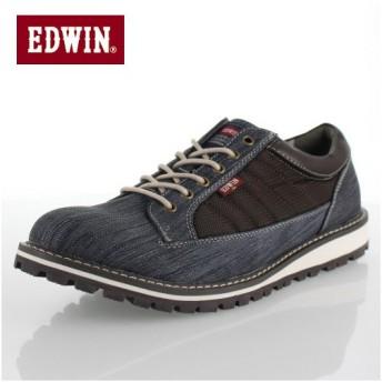 エドウィン EDWIN EDW-7903 ネイビー カジュアルシューズ スニーカー 防水 防滑 メンズ 靴 レースアップ ブルー デニム