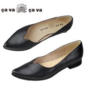 cavacava サヴァサヴァ 靴 1320029 センタースリット ポインテッドトゥ フラット シューズ パンプス ブラック