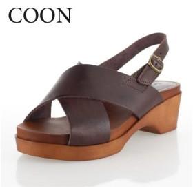 COON クーン 靴 002 サンダル 日本製 本革 レザー クロスベルト ウェッジソール 厚底 ダークブラウン レディース