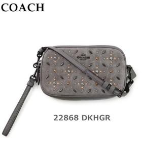 COACH コーチ ポーチ バッグ 22868 DKHGR グレー レザー クラッチバッグ レディース