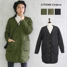 【SALE】 【メーカー】裏ボアキルティングコートレディースファッション冬物裏ボアノーカラーアウターキルティングジャケット中綿ベンチコート