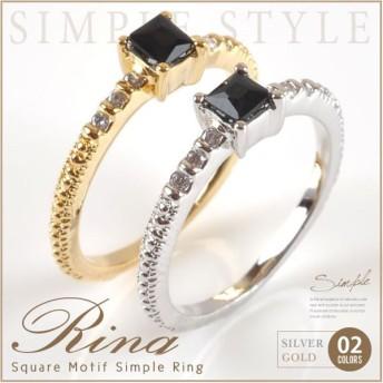 【在庫限り!残りわずか】リング 指輪 ピンキーリング スクエア デザイン ブラック レディース 気品漂う