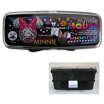 ディズニー☆ミッキー&ミニー M loves Mシリーズ 箸付2段スリムランチボックス ドット柄(ブラック) 入園入学祝い 記念日ギフト