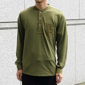 スワーブ SWRVE cotton/Modal_long sleeve henley olive コットン モダール ロング スリーブ ヘンリー シャツ 長袖