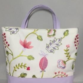 トート 立体刺繍リネン ラベンダー