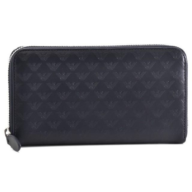 aa9a229d6c23 エンポリオ アルマーニ/EMPORIO ARMANI 財布 メンズ ロゴ型押しカーフスキン ラウンドファスナー長財布