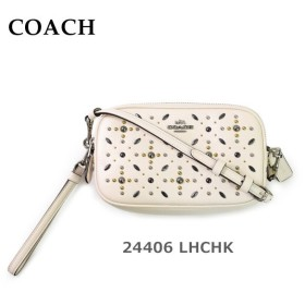 COACH コーチ ポーチ バッグ 24406 LHCHK ホワイト レザー クラッチバッグ レディース