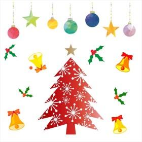 ウォールステッカー クリスマス Christmas 飾り 30×30cm Ssize シール式 装飾 オーナメント ツリー リース 2018 xmas Xmas 015084