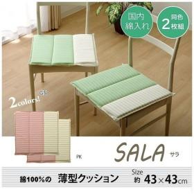 クッション 角型 綿100% タタキ サラ グリーン 約43×43cm 2枚組 代引不可
