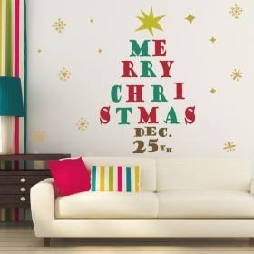 ウォールステッカー クリスマス Christmas 飾り 90×90cm Lsize シール式 装飾 オーナメント ツリー リース 2018 xmas Xmas 015041