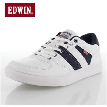 エドウィン EDWIN ED-7027 ホワイト ネイビー カジュアルシューズ スニーカー メンズ 靴 レースアップ 白