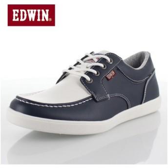 エドウィン EDWIN ED-7155 ホワイト ネイビー デッキシューズ スニーカー 軽量 メンズ 靴 カジュアルシューズ 白