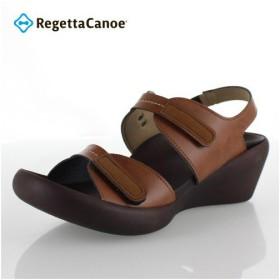 リゲッタカヌー レディース サンダル Regetta Canoe CJLW5529 CAM キャメル ローウェッジ グミインソール 5cmヒール 日本製