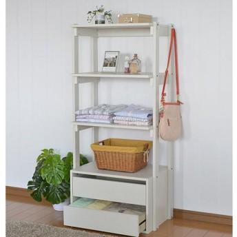 オープンラック シェルフ 幅60 木製 オープンシェルフ 白 棚 ラック 衣類 服 洋服 収納 代引不可