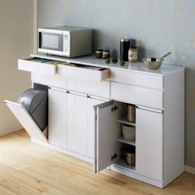 光沢仕上げ腰高カウンター収納シリーズ キッチン収納庫 幅55.5cm 703704