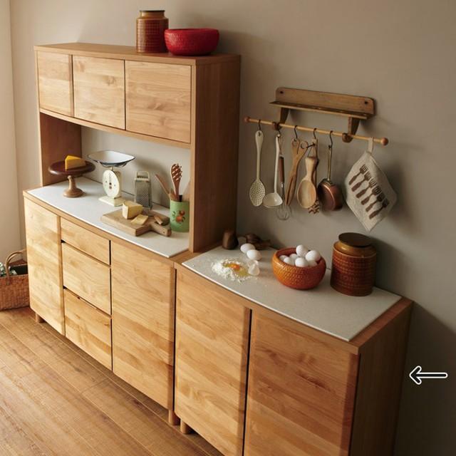 アルダー無垢材キッチン収納 アールシリーズ カウンター 幅80cm 702828
