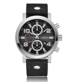 CURREN 腕時計 メンズ ファッション 三針 アナログ 日付表示 カレンダー 30M防水 レザーバンド ブラック