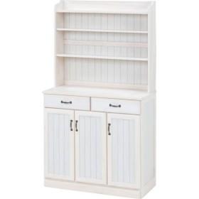 キッチンカウンター/キッチン収納 〔幅87cm〕 木製 棚/高さ調節可 カントリー調 ホワイト(白)〔代引不可〕