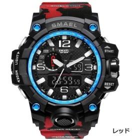 SMAEL ミリタリー 迷彩風 アナデジ 腕時計 メンズ 男性 アラーム クロノグラフ 多機能 スポーツ ウォッチ (レッド)