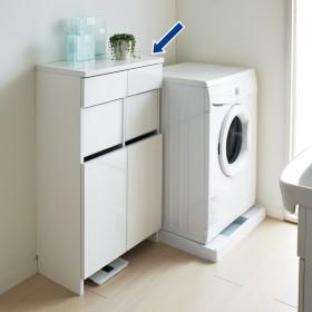 組立不要 洗濯カゴ付き2in1光沢サニタリー収納庫 ロータイプ 幅60.5cm 705503