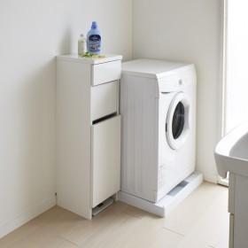 組立不要 洗濯カゴ付き2in1光沢サニタリー収納庫 ロータイプ 幅31cm 705501