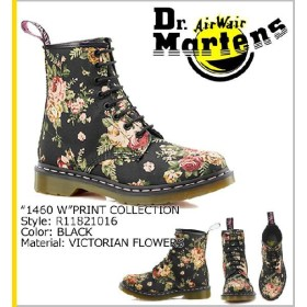 ドクターマーチン Dr.Martens 1460 WOMENS 8ホール ブーツ ブラック R11821016 PRINT キャンバス レディース メンズ