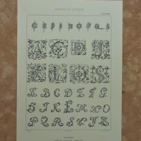 フランスのアルファベットの図案です。A3サイズ F-102