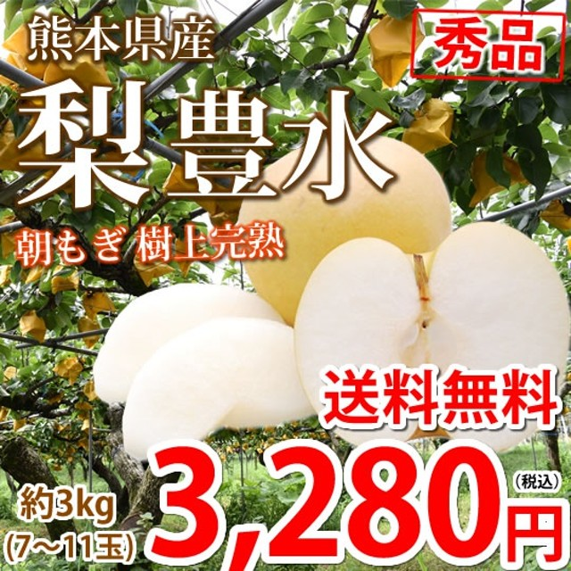 梨 豊水 送料無料 秀品 約3kg 7~11玉 熊本県産 ナシ なし 幸水 秋月 新高