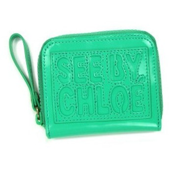 シーバイクロエ see by chloe 二つ折り財布 小銭入 zip file pvc 9p7238 square zipped wallet mint gr