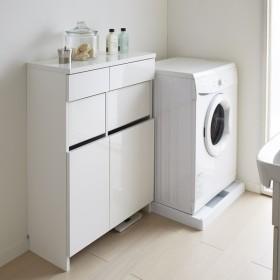 組立不要 洗濯カゴ付き2in1光沢サニタリー収納庫 ロータイプ 幅73cm 705504