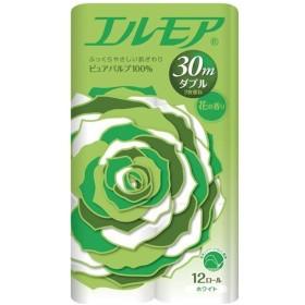 (まとめ) カミ商事 エルモア 花の香り ダブル 芯あり 30m 1セット(96ロール:12ロール×8パック) 〔×2セット〕