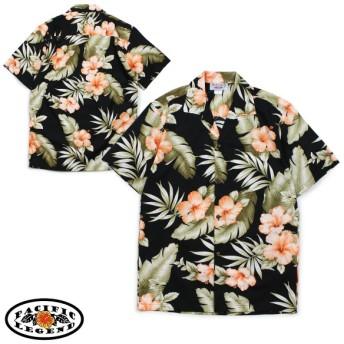 パシフィック レジェンド Pacific legend アロハシャツ メンズ ハワイ製 HAWAIIAN SHIRTS ブラック 410-3743