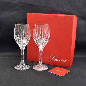 Baccarat/バカラ ◆ジュピター ワイングラス ペアセット 箱入/クリスタル ガラス フランス カッティング マッセナ