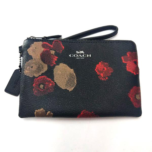 COACH 防刮皮革黑色花卉圖案手拿包/零錢包