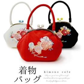 振袖 袴 バッグ 成人式 卒業式 洒落用 着物バッグ がま口 ちりめんの生地に毬と花柄の刺繍入り 3色 赤 白 黒 メール便不可 あすつく