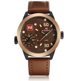 NaviForce 腕時計 メンズ カジュアル デュアルタイム 日付表示 3気圧防水 レザーバンド ゴールド ブラウン