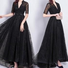 2018新作 ロングドレス 演奏会 結婚式 母親 結婚式 大きいサイズ ワンピース 黒 ブラック Vネック 半袖 五分袖 ステージ おしゃれ