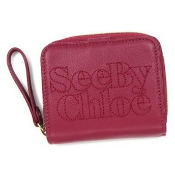 シーバイクロエ see by chloe 財布 二つ折りカード 9p7516 square zipped wallet deep pink d.pk