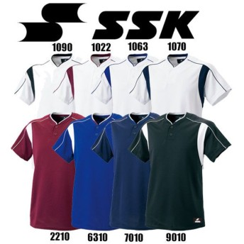 2ボタンベースボールTシャツ SSK エスエスケイ 野球 ベースボールTシャツ (BW2080)